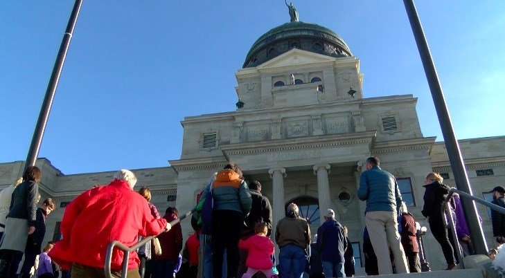 Montanans gathered at the State Capitol to remember each ofthe victimsas well ascall for an end to gun violence. (MTN News photo)