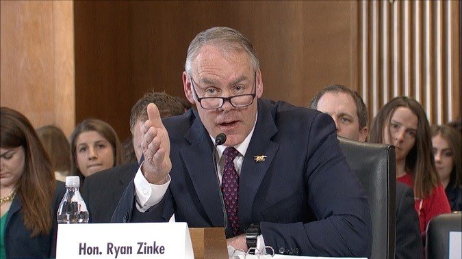 Interior Secretary Ryan Zinke appearing before a US Senate committee on 3.13.18. (MTN News photo)