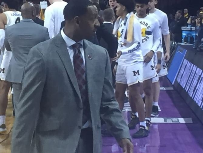 Head coach Travis DeCuire walks off the court after his Grizzlies fell to Michigan in the NCAA Tournament. (MTN Sports photo)