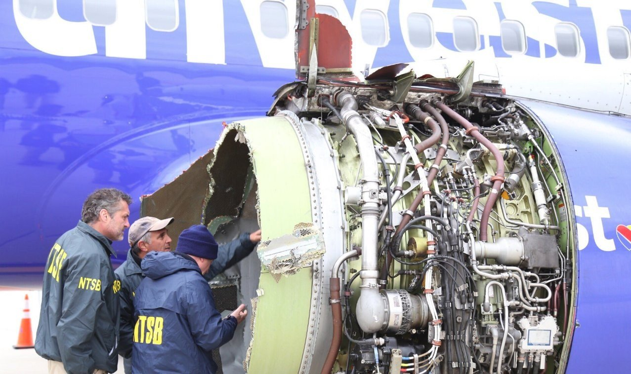 The National Transportation Safety Board is onsite inspecting a Southwest airline plane after engine failure caused the plane to make an emergency landing in Philadelphia (Source: @NTSB_Newsroom/Twitter)