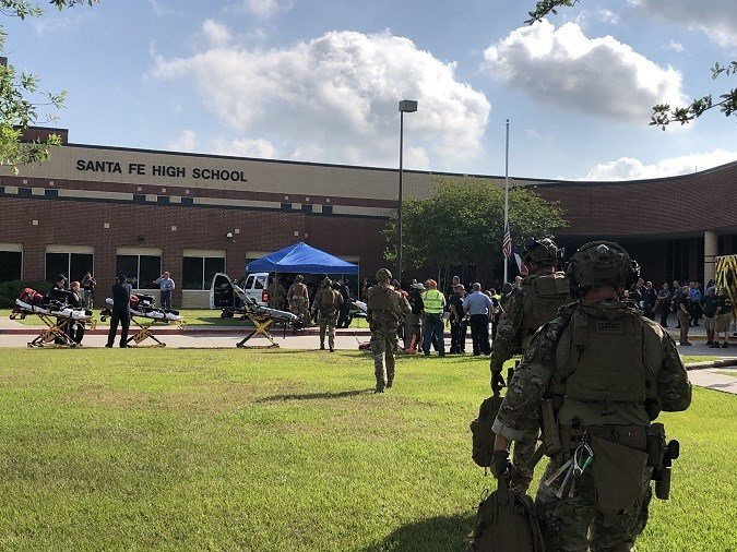 Multiple people have died as a result of a shooting Friday morning at a high school in the southeastern Texas city of Santa Fe, two law enforcement sources told CNN. (Source: Harris County Sheriff's Office)
