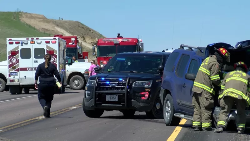 One person died in a two-car crash on I-15 between Great Falls and Vaughn. (MTN News photo)