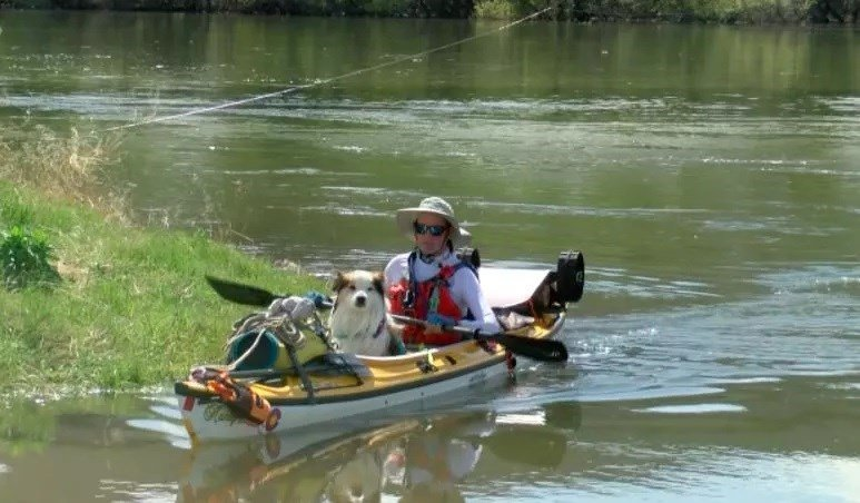 Tomas Dawson finished his first full week of kayaking just after 5 p.m. on Monday in Ulm. (MTN News photo)