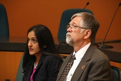 UM President Royce Engstrom listens during Monday's press conference in Missoula (MTN News photo)