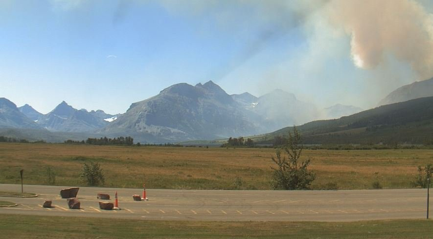 The view Thursday afternoon from the Glacier NP web cam at the St. Mary Visitors Center