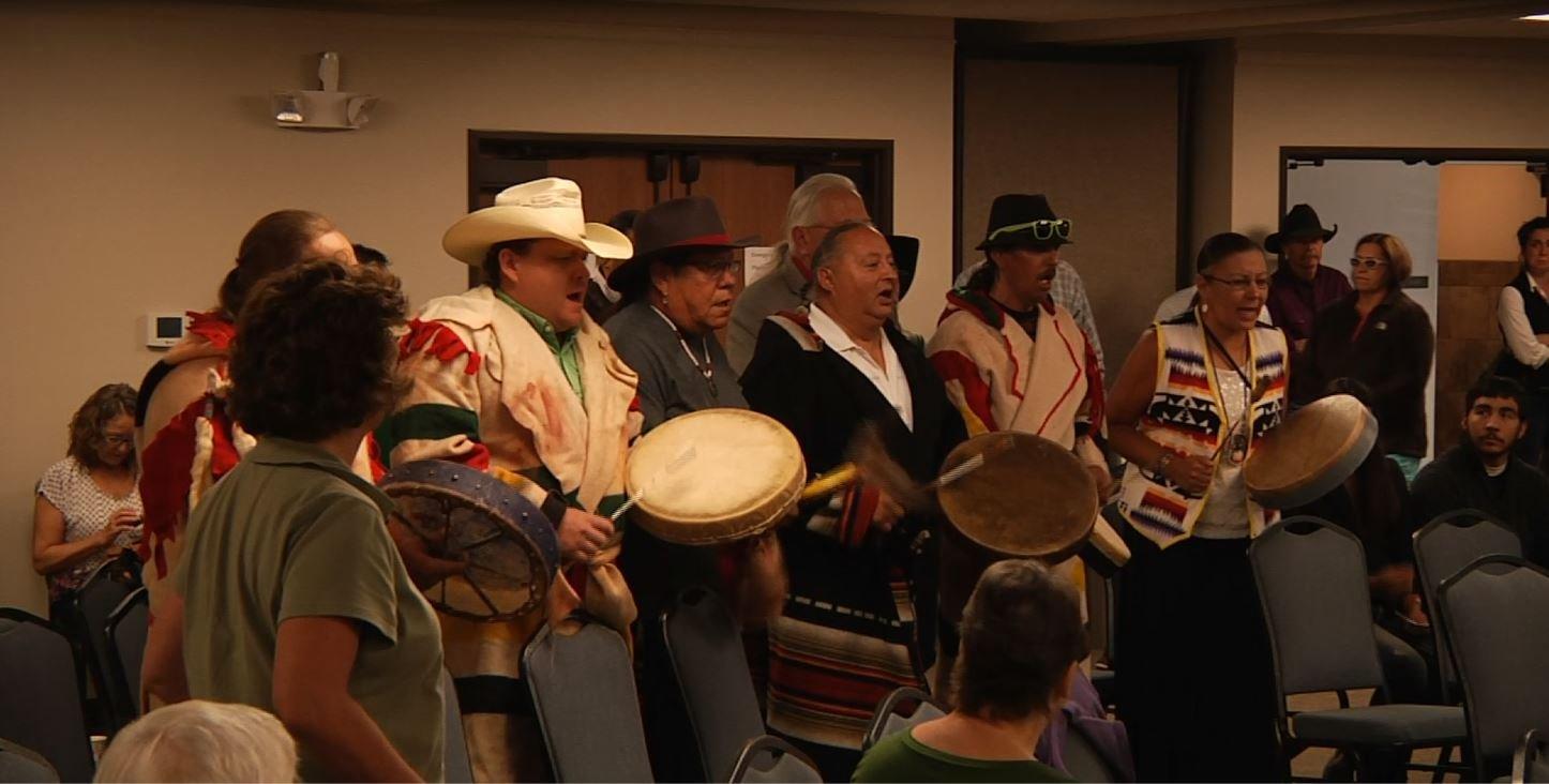 Blackfeet prayer and song held before meeting (MTN News photo)