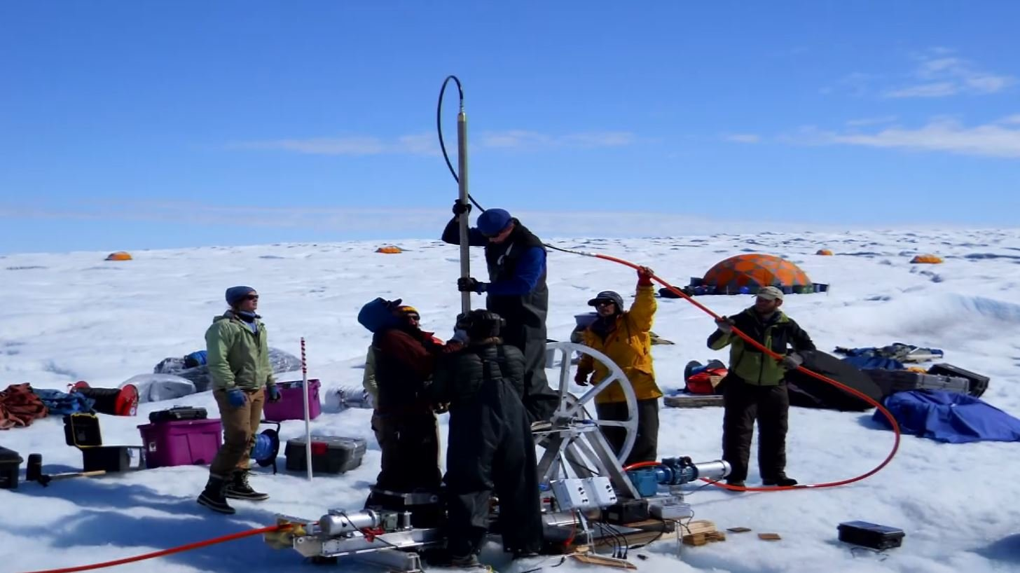 The research team takes 18,000 pounds of drilling equipment with them, and drills holes of up to 900 meters deep.