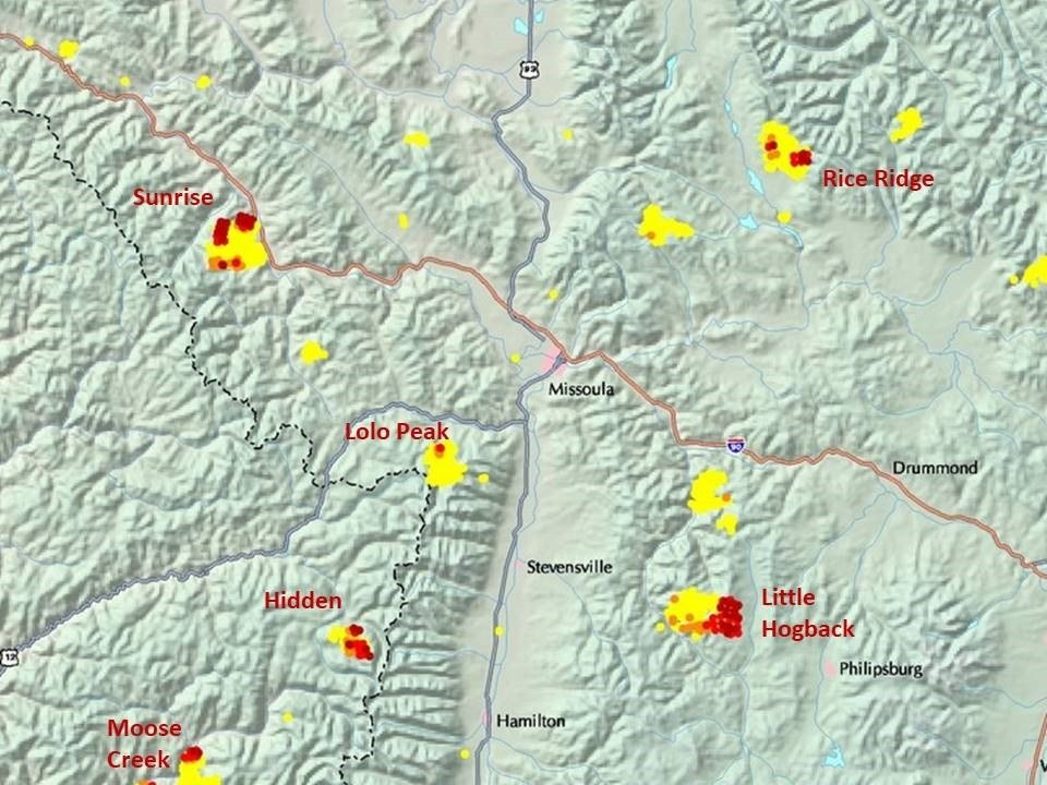 Western Montana Air Quality Still Impacted By Wildfire Smoke - Map of western montana