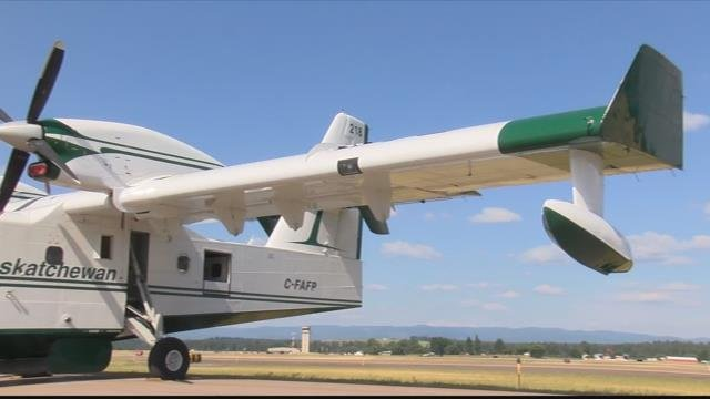 """4 """"super scoopers"""" are on loan to help fight Montana wildfires. (MTN News photo)"""
