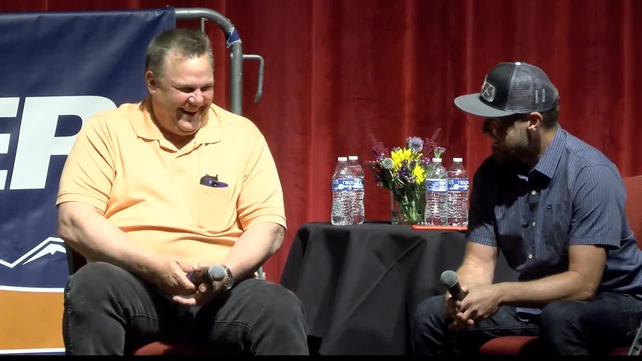 Pearl Jam's Jeff Ament (R) joined fellow Big Sandy native Sen. Jon Tester for a campaign event in Missoula. (MTN News photo)
