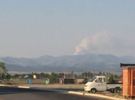 The Shellrock Fire as seen from Helena Sunday evening. (MTN News photo)