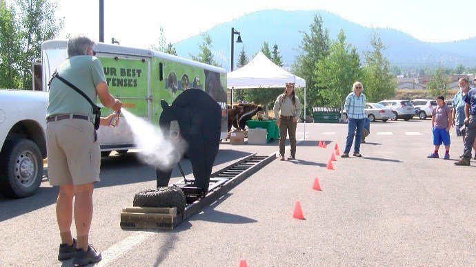 The workshop included training on how to handle an encounter with a bear as well as a demonstration about the proper use of bear spray. (MTN News photo)