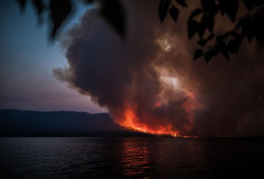 The Howe Ridge fire burning near Lake McDonald in Glacier National Park. (inciweb.org photo)