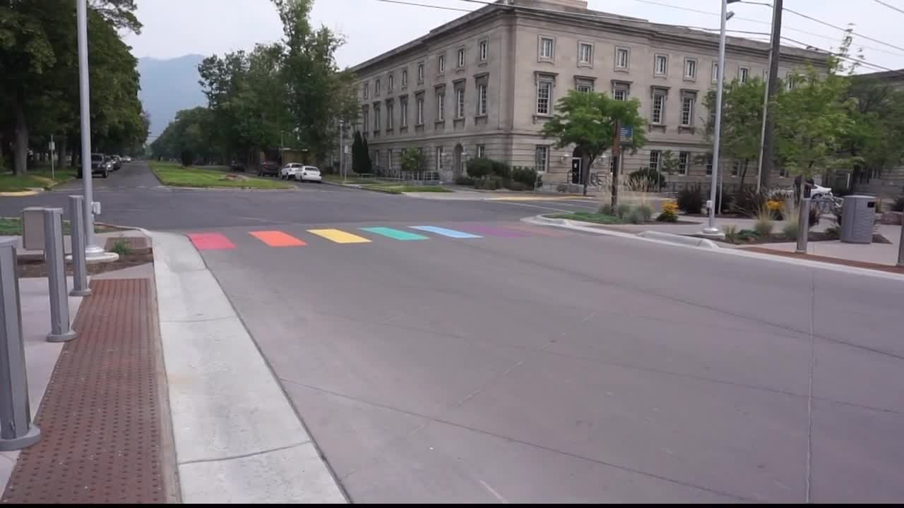 A rainbow crosswalk has been installed on Pine Street between the Missoula Art Museum and Adventure Cycling. (MTN News photo)
